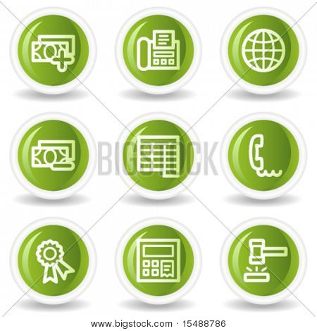 Finance web icons set 2, green circle buttons