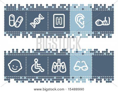 Blue dots bar with medicine web icons set 2