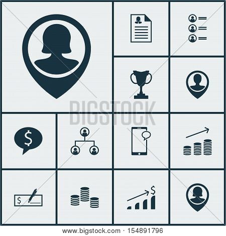 Set Of Human Resources Icons On Tree Structure, Job Applicants And Female Application Topics. Editab