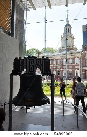 PHILADELPHIA - AUG 14, 2010: Liberty Bell in Liberty Bell Center next to Independence Hall in Philadelphia, Pennsylvania, USA.