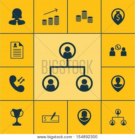 Set Of Human Resources Icons On Phone Conference, Cellular Data And Coins Growth Topics. Editable Ve