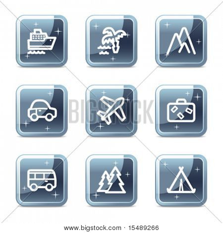 Travel web icons set 1, mineral square glossy buttons
