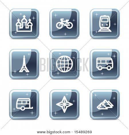 Travel web icons set 2, mineral square glossy buttons