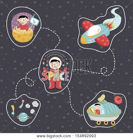 Space concept in cartoon style. Rocket, astronaut, exploration rover, star, planet, comet, asteroid vector icons isolated on starry grey background set. Astronomic illustration for childrens book