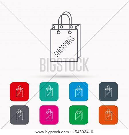 Shopping bag icon. Sale handbag sign. Linear icons in squares on white background. Flat web symbols. Vector