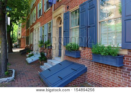 Historic Townhouse on Pine Street in old town Philadelphia, Pennsylvania, USA.