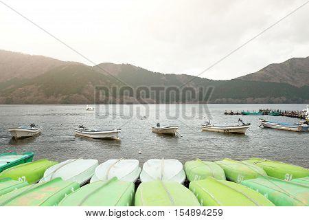 Hakone Japan - MARCH 29 2016: Boats floating at Ashi Lake