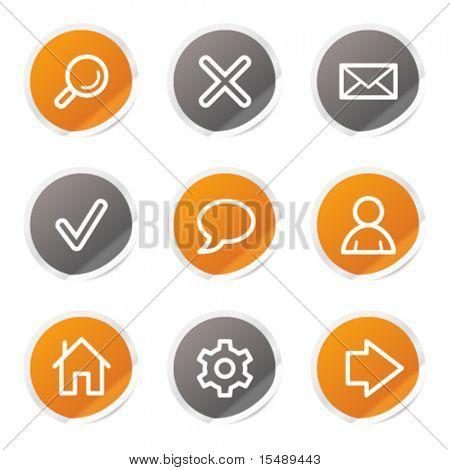Basic web icons, orange and grey stickers