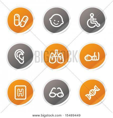 Medicine web icons set 2, orange and grey stickers