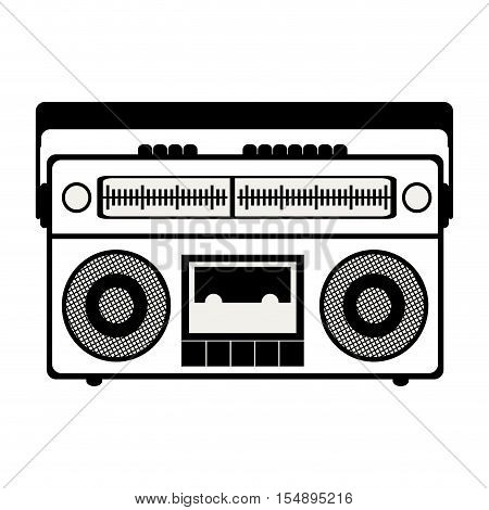silhouette of retro radio portable icon over white background. vector illustration