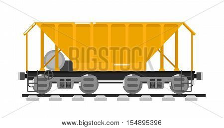 Railway wagon for mass transit bulk cargo isolated on white background vector illustration. Railroad transport. Side view freight container. Cargo train on railroad. Rail carriage in flat design