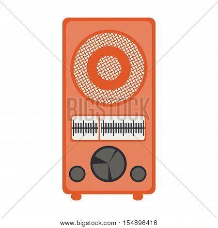 retro orange radio icon over white background. vector illustration