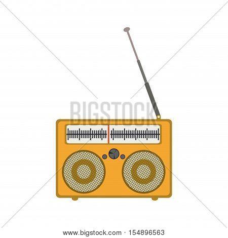 retro yellow radio portable icon with antenna over white background. vector illustration