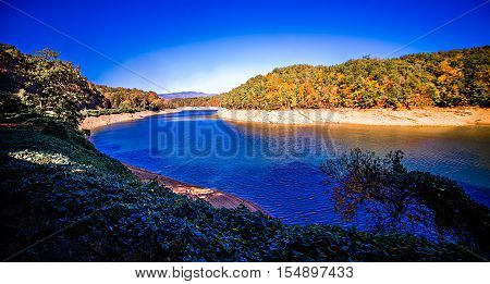 Fontana Lake in North Carolina with Low Water Levels in october 2016