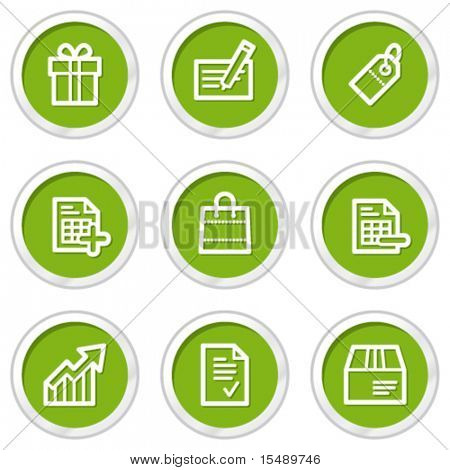 Shopping web icons set 1, green circle buttons