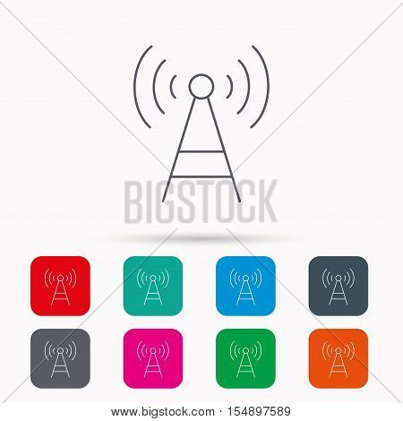 Telecommunication tower icon. Signal sign. Wireless wifi network symbol. Linear icons in squares on white background. Flat web symbols. Vector
