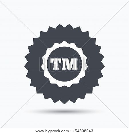 Registered TM trademark icon. Intellectual work protection symbol. Gray star button with flat web icon. Vector
