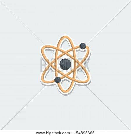 Science symbol - sphere atom. School education, science research, nuclear physics colorful single icon. Basic element for web isolated on white background vector illustration in flat design.