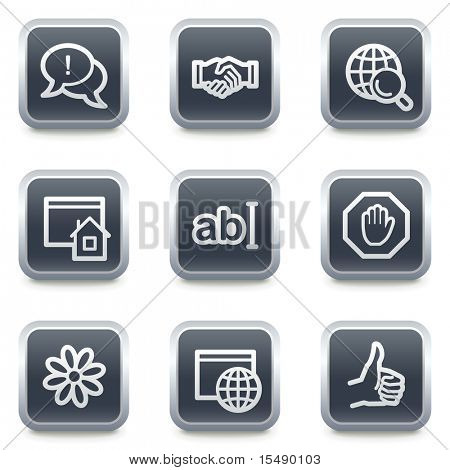 Internet web icons set 1, grey square buttons