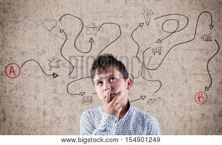 Thoughtful kid next to wall painted with a path from a to b with different icons through the path. Path to achieve a goal and all the phases planned.