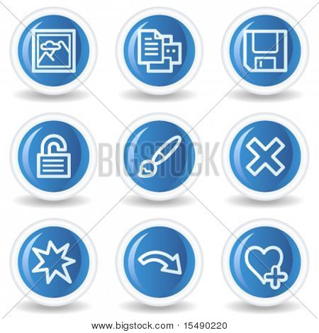 Image viewer web icons set 2, blue glossy circle buttons