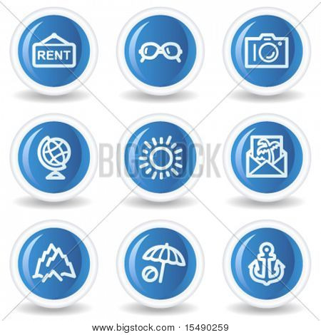 Travel web icons set 5, blue glossy circle buttons