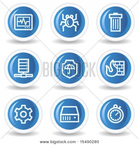 Internet security web icons, blue glossy circle buttons