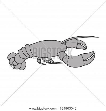 silhouette of lobster icon. sea food design. vector illustration