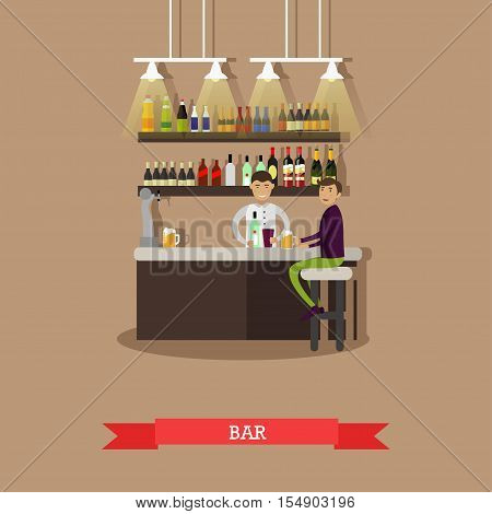 Visitors drink beer in a bar. Restaurant interior - stock vector.