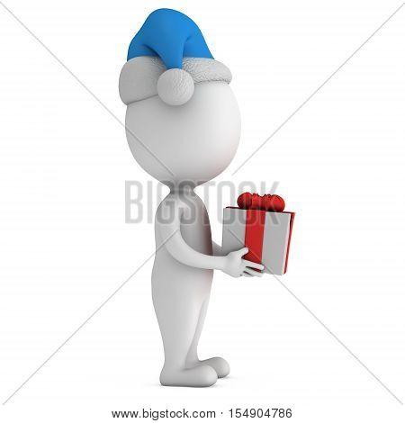 White small man in santa claus cap stand with gift with a red ribbon and a bow. 3D render illus isolated on white.
