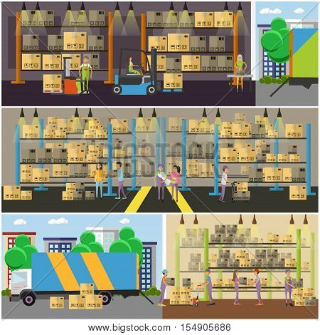 Logistic and delivery service concept banner. Warehouse interior. Vector illustration in flat style design.