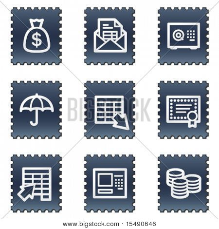 Banking web icons, navy stamp series