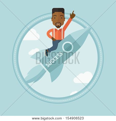 African-american businessman flying on business start up rocket and pointing forefinger up. Successful business start up concept. Vector flat design illustration in the circle isolated on background.