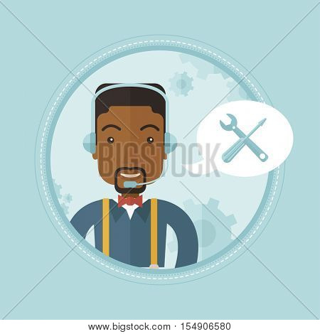 African-american professional operator of technical support. Operator of technical support at work. Concept of technical support. Vector flat design illustration in the circle isolated on background.