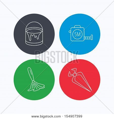 Tape measure, bucket of paint and paint brush icons. Nippers linear sign. Linear icons on colored buttons. Flat web symbols. Vector