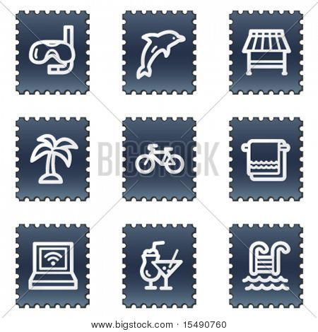 Vacation web icons, navy stamp series