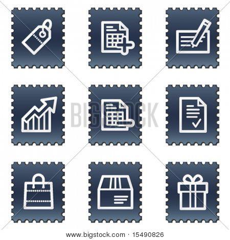 Shopping web icons set 1, navy stamp series