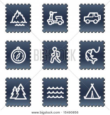 Travel web icons set 3, navy stamp series