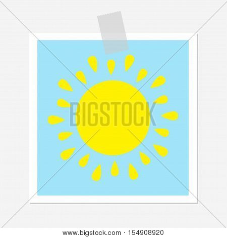 Sun shining icon. Cute cartoon image. Greeting card. Adhesive transparency tape Hello summer. White background. Baby collection. Flat design Vector