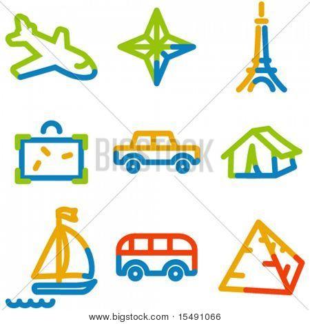Los iconos de viaje set 2, serie contorno de color