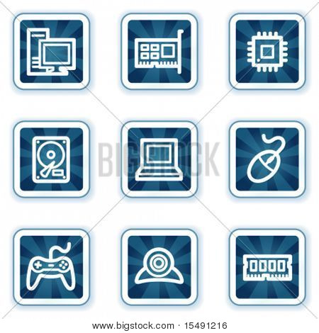Computer web icons, navy square buttons