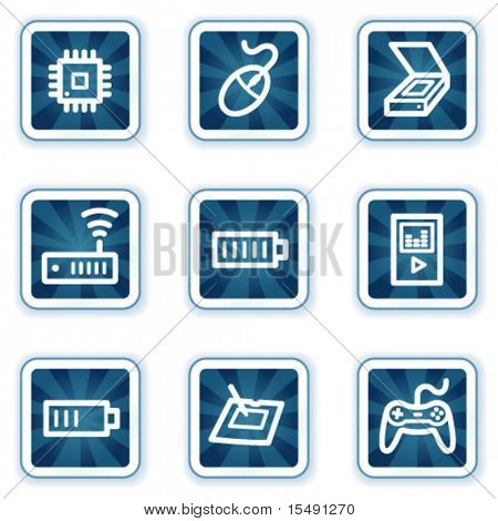 Electronics web icons set 2, navy square buttons