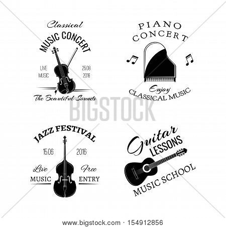 Music vintage retro label and badge. Guitar, Piano. Jazz festival. Double bass . Music festival and concert. Music classic, rock, music