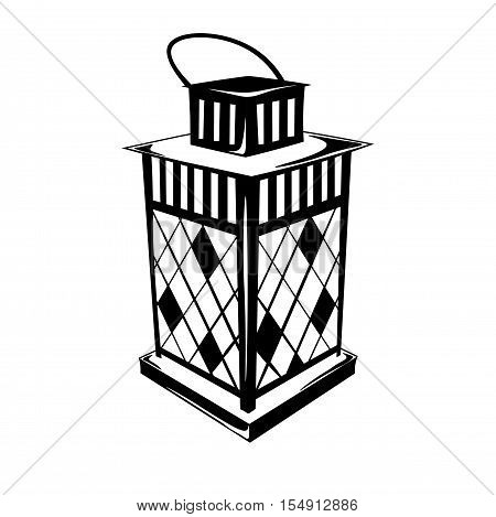 Vintage Hurricane lamp oil. Isolated On White. Vector Illustration