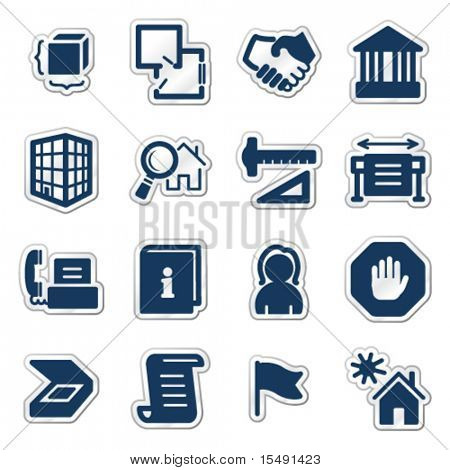 Building web icons, navy sticker series