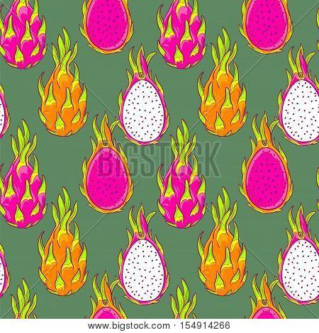 dragon fruit pattern. Pitaya, pitahaya fruit, vector seamless pattern