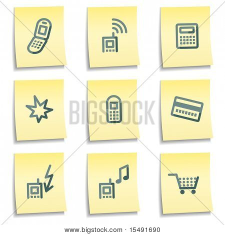 Mobile phone icons, yellow notes series