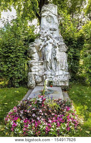 Grave Of Composer Johann Strauss  In  Cemetery In Vienna