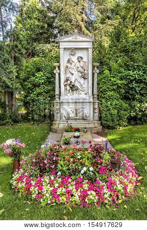 VIENNA AUSTRIA - JUNE 26 2016: Grave of composer Franz Schubert at the Zentralfriedhof Cemetery in Vienna Austria.
