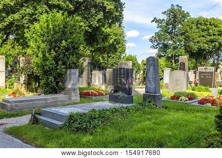 Graves At The Zentralfriedhof Cemetery In Vienna, Austria.